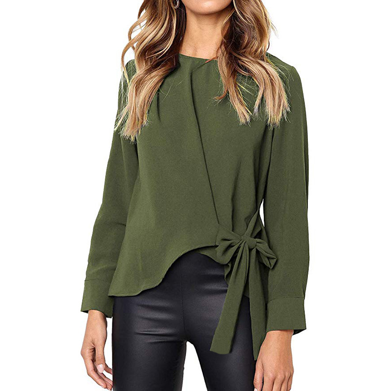 New Women   Blouses   2018 Autumn Winter Fashion Tie Buttons O Neck Long Sleeve   Blouse     Shirt   Casual Irregular Green   Shirts   Plus Size