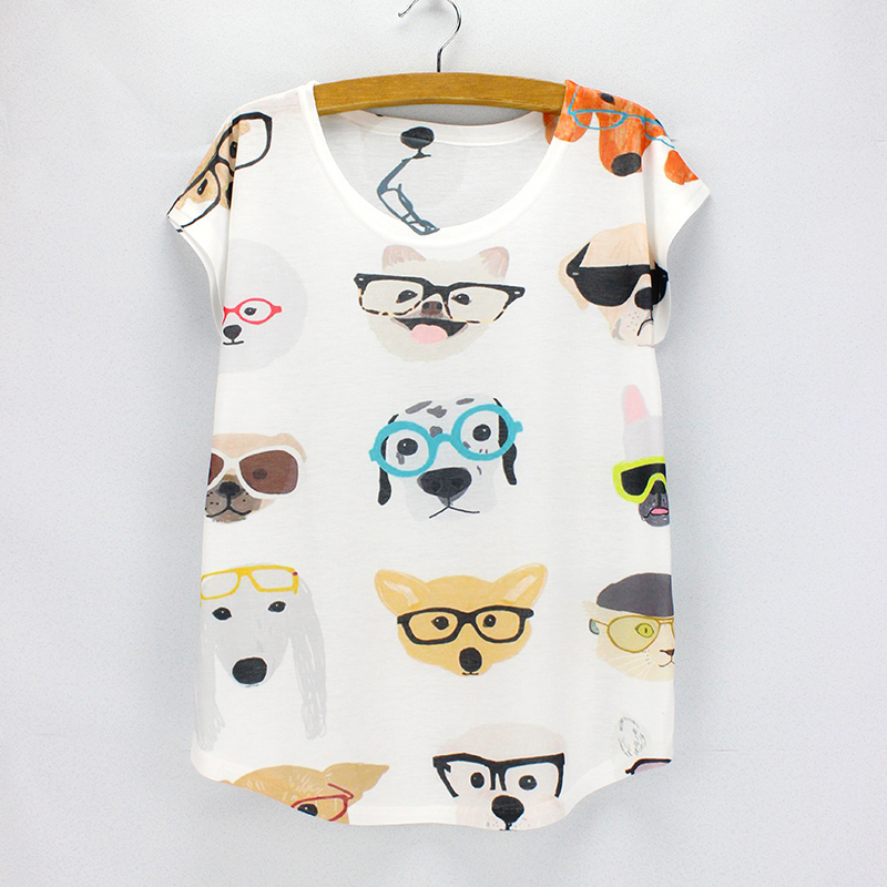 Cute Dogs Printing Summer Top Tees Women Fashion Style T