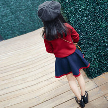 Top Long Sleeve Bowknot Knitted Sweater+Skirts