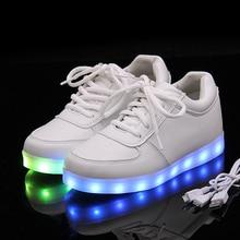 Los hombres zapatos casuales Zapatos Para Adultos USB Recargable Led Luz Luminosa Hombres Zapatos Negro Blanco