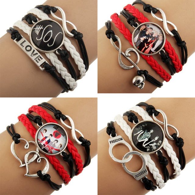 12pcs 2017 New Sideways Mix Charm Music Super Star 5 Seconds Of Summer 5sos Bracelets Wristbands