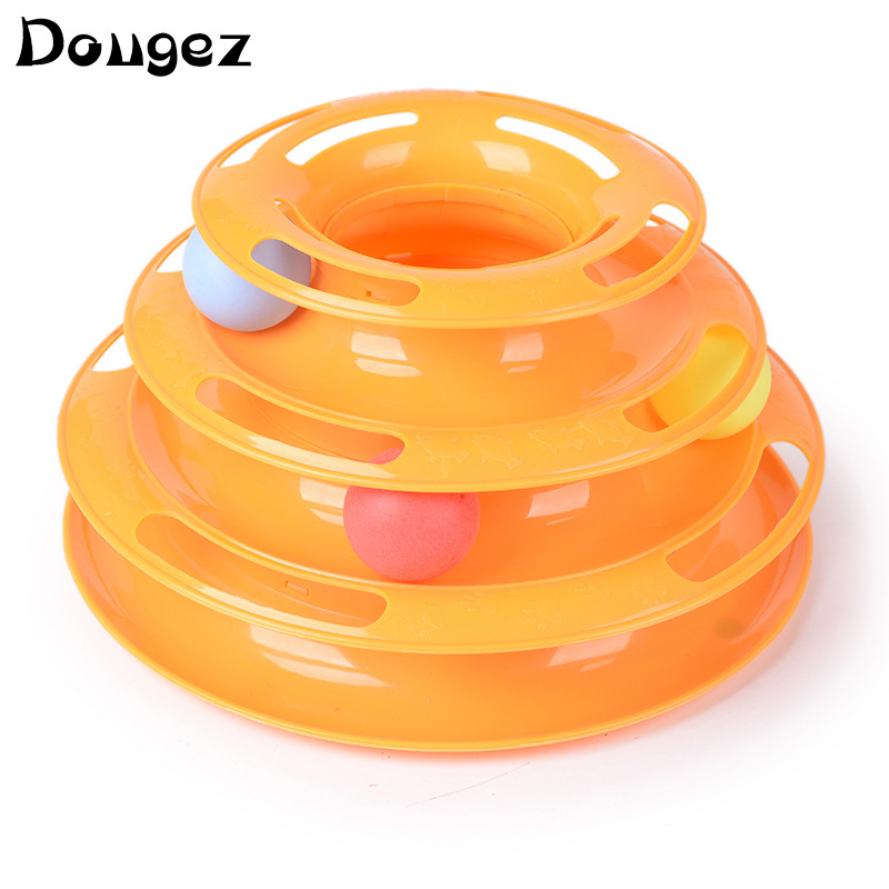 Three Levels Tower Track Disk Pet Cat Toys Plastic Intelligence Crazy Play Cat Pet Toy With Ball Green Orange Pet Toys for Cat