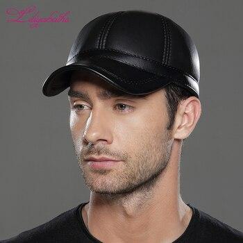 Liliyabaihe nuevo invierno para hombre gorras sombrero de cuero Gorras de  béisbol sombreros casuales gorras de Popular tamaño ajustable sombreros de  moda ... d9d73567054