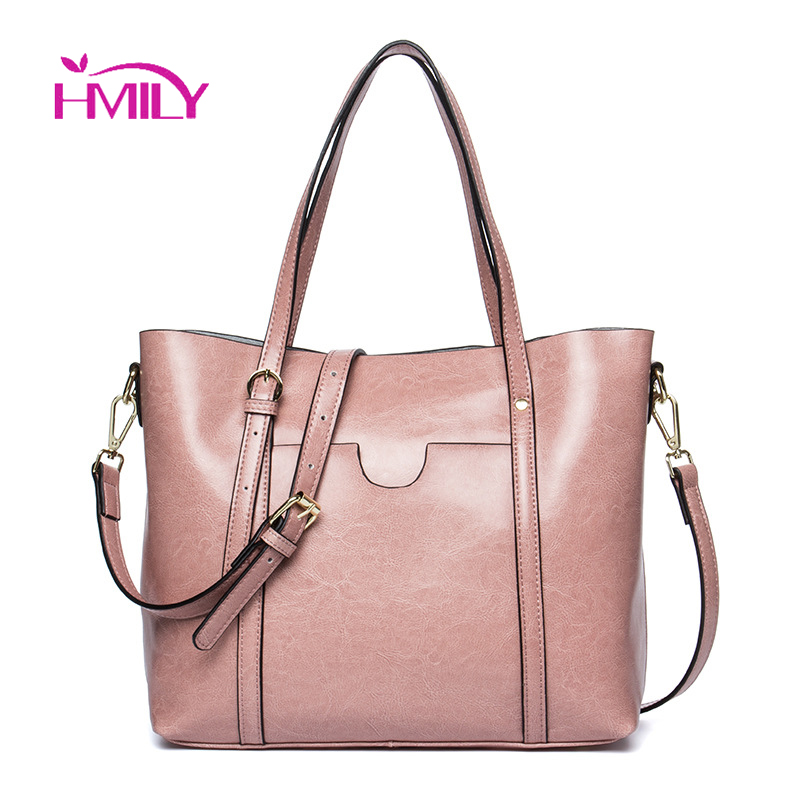 HMILY Oil Wax Leather Women Handbag Cow Leather Female Messenger Bag Lady Elegant Daily Tote Zipper Large Capacity Shoulder Bags цена