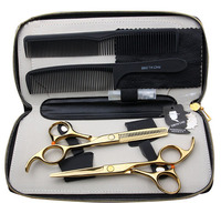 SMITH CHU 5 5 INCHES Professional Barber Hair Cutting Scissor And Thinning Scissors HM71 GOLDEN Free
