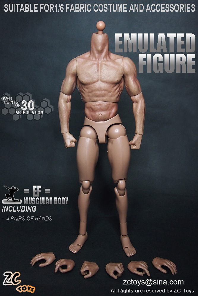 Free Shipping 1/6 Scale Muscular Figure Muscle Body Similar For Hot Toys 12 Action Figur ...