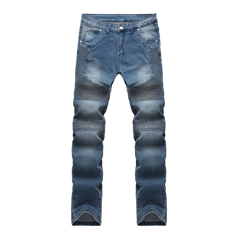 Biker Jeans Men 2017 Brand New Slim Fit Fold Mens Denim Pants Trousers Water Washed Cotton Jeans Homme Zipper Pantalones Hombre 2017 fashion patch jeans men slim straight denim jeans ripped trousers new famous brand biker jeans logo mens zipper jeans 604