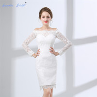 Sapphire Bridal Vestido De Noiva Country Style Wedding Dress Long Sleeve Boat Neck Lace Sheath Short