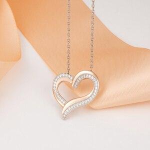 Image 3 - 925 sterling srebrne dla zakochanych naszyjnik z błyszczącą cyrkonią wysokiej jakości różowe złoto moda damska biżuteria dla dziewczyny najlepszy gif