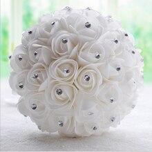Beautiful White Ivory Bridal Bridesmaid Flower wedding bouquet artificial flower rose bouquet Crystal bridal bouquets