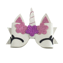 3 inch Hair Accessories Chunky Glitter Bow For Kids Cute Unicorn Wings Hairpins Girls  Clip Handmade Child