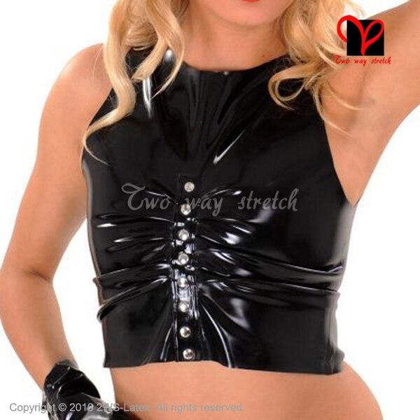 Noir Sexy Latex chemise avec rivets sans manches en caoutchouc maillot de corps haut court Tee chemise de grande taille XXL SY-081