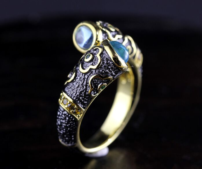 Enamel fashion men and women couple models opening 925 sterling silver Natural stone exquisite ring