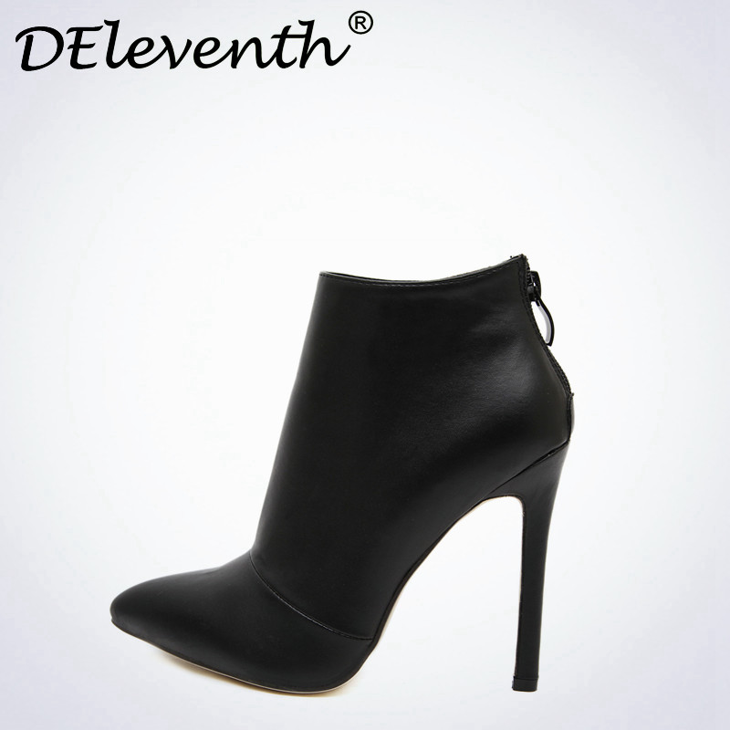 Belle Contracted Style Solid Color Black Women Red Wedding Shoes Back Zipper Pointed Toe High Heel Boots Shoes Woman Ankle Boots