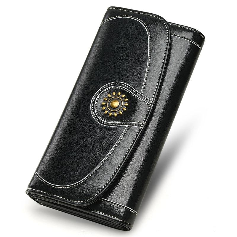 정품 가죽 여성 지갑 2018 패션 레트로 긴 여성 클러치 지갑 양 클러치 지갑 ~ 대형 다기능 전화 가방