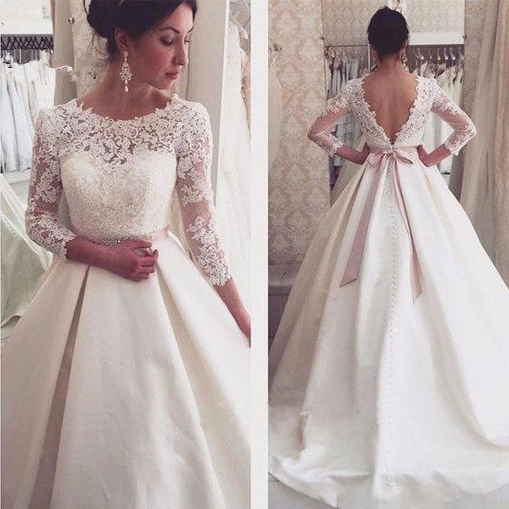 Vestido De Noiva 2019 Wedding Dresses Long A-Line 3/4 Sleeves Appliques Lace Sexy Backless Wedding Gown Bridal Dresses