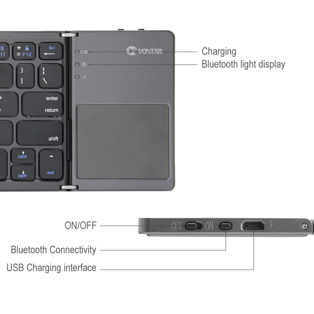 Portable Folding Bluetooth Keyboard Wireless Rechargeable Foldable Klavye Touchpad Keypad for IOS Android Windows ipad Tablet