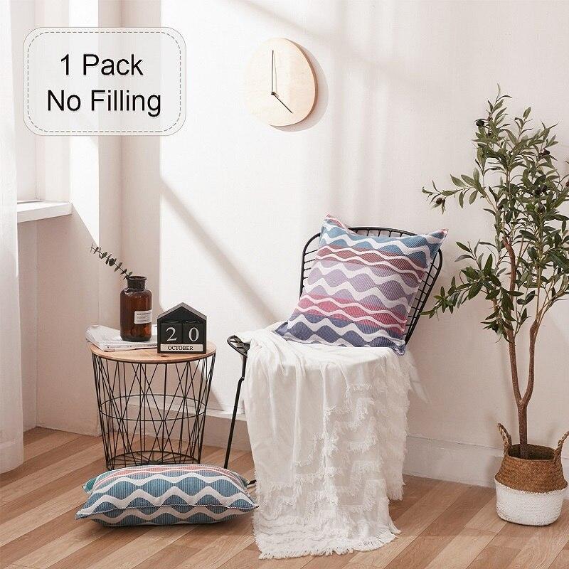 Phf cinco listras cor capa de almofada 45x45cm engraçado lance travesseiros algodão 1 peça fio tingido cojines decorativos para o natal