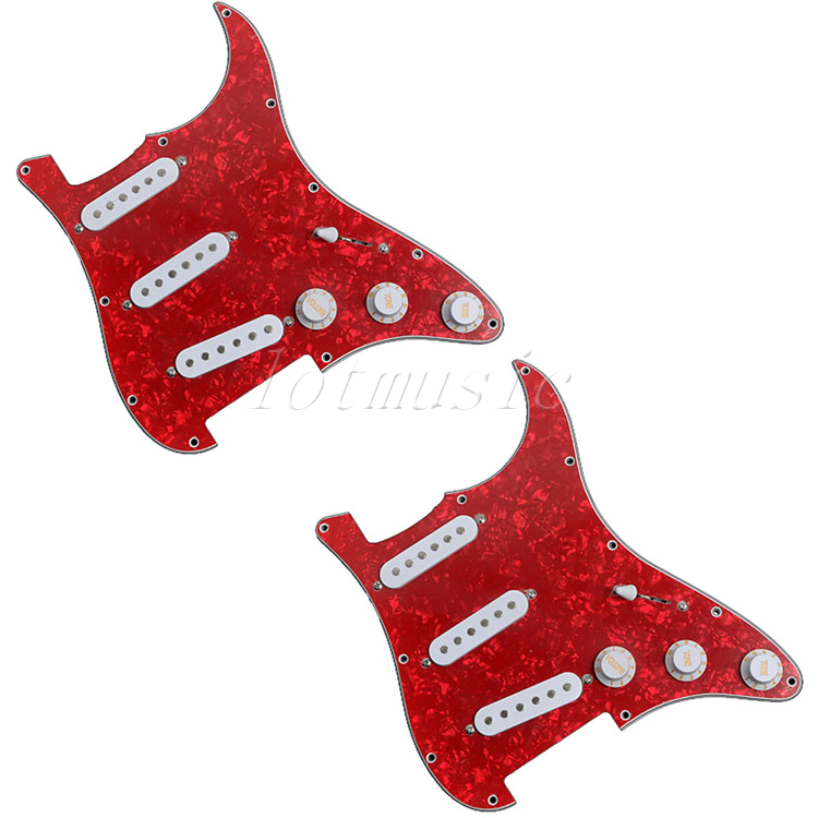 2Pcs Guitar Deluxe SSS Loaded Pickguard Red for Electric Guitar Replacement Parts white 3 single coil pickup loaded pre wired sss pickguard set for fenderstrat st guitar parts