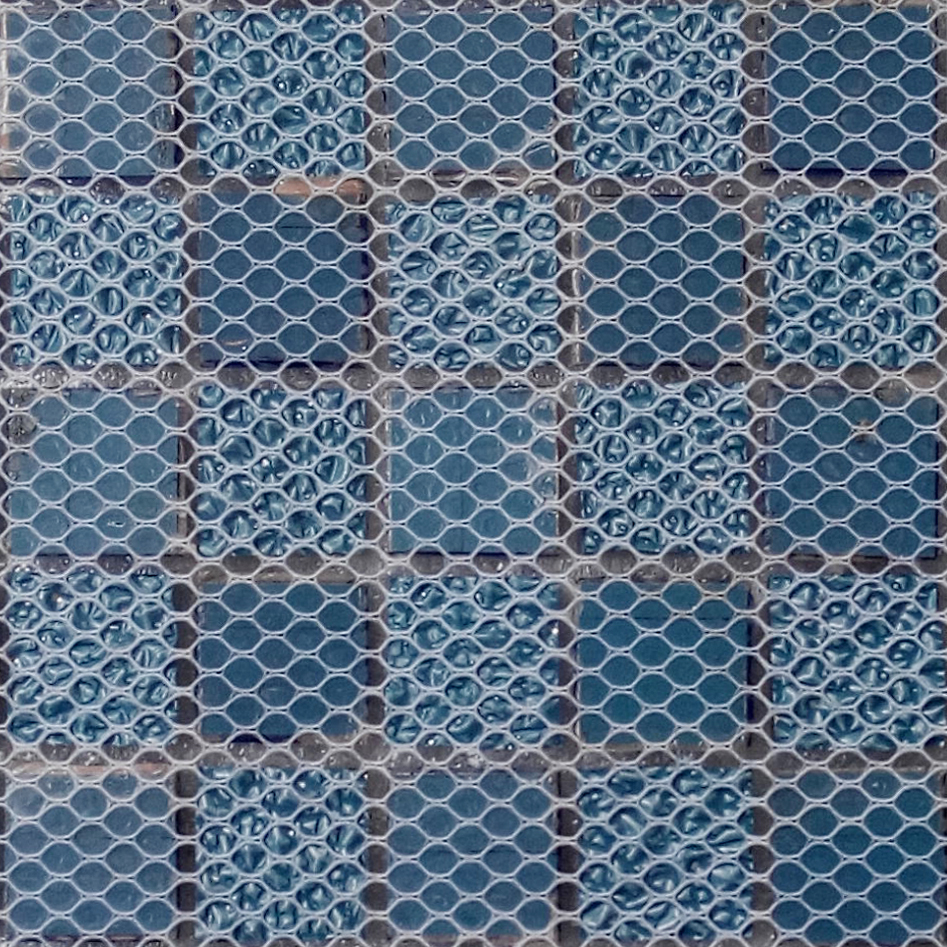 TST Sea Blue Glass Tile SAMPLE Mosaic beveled diamond silver wall ...