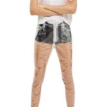 Популярные Модные прозрачные женские брюки с высокой талией, широкие брюки, водонепроницаемые, ПВХ пластиковые свободные длинные брюки