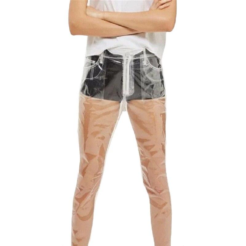 2017 moda quente transparente calças femininas de cintura alta perna larga calças à prova dwaterproof água pvc plástico solto calças compridas