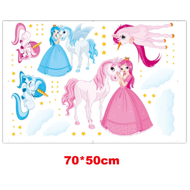 Magic Unicorn Wall Stickers Home Decor Wall Decals Kid's Room Decorative Sticker Animals Home Decoration Princess Sticker Decal
