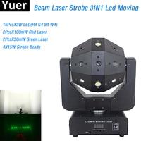 1Pc 3IN1 Beam Laser Strobe Light 16X3W LED Moving Head Light Football DMX Controller Laser Light Dj Bar Party Show Stage Light