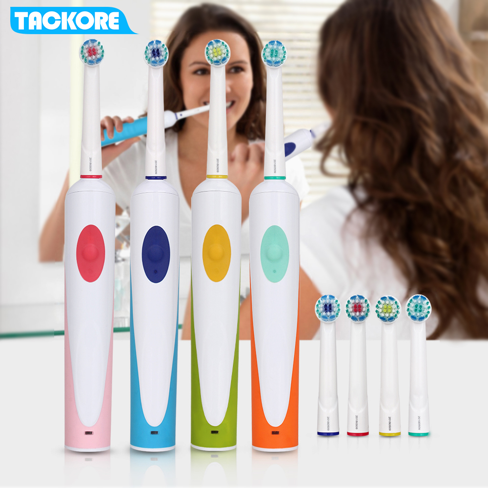 Colourful Deep Clean New Rotating Toothbrush Rechargeable Rotation-oscillation ToothBrush 4 DuPont brush heads image