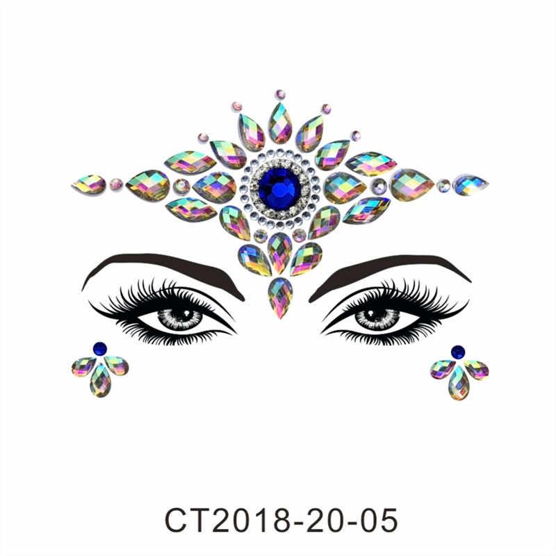 夏スタイルフラッシュ目の宝石一時的なタトゥーステッカー女性フェスティバルデコレーションラインストーン厳選顔ジュエルメイクセット