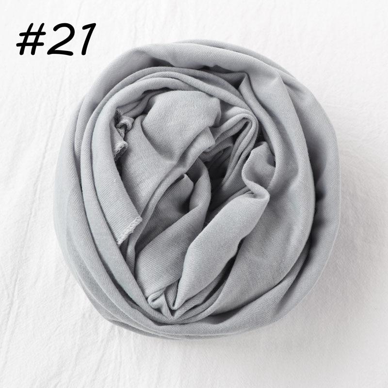 Один кусок Хиджаб Женский вискозный Джерси-шарф Мусульманский Исламский сплошной простой Джерси хиджабы Макси шарфы мягкие шали 70x160 см - Цвет: 21 light gray