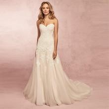 Verngo Mermaid Wedding Dress Lace Appliques Gowns Backless Bride Classic Strapless Vestido De Novia