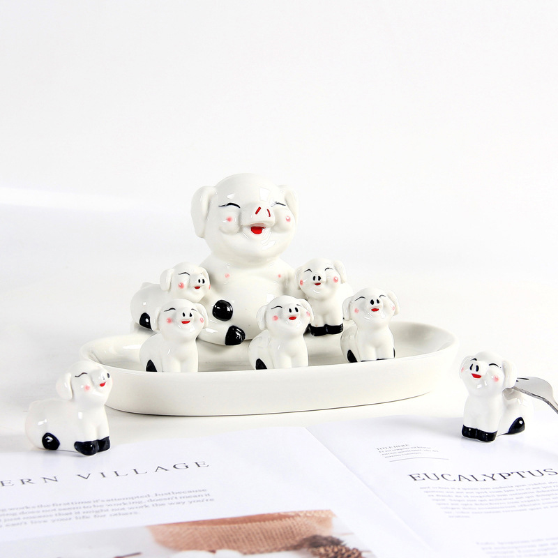 1Set Europe Style Pig Ceramic Cute Swan Figurine Deer Creative Chicken Decoration Model Home Decoration Accessories Crafts Gift in Figurines Miniatures from Home Garden