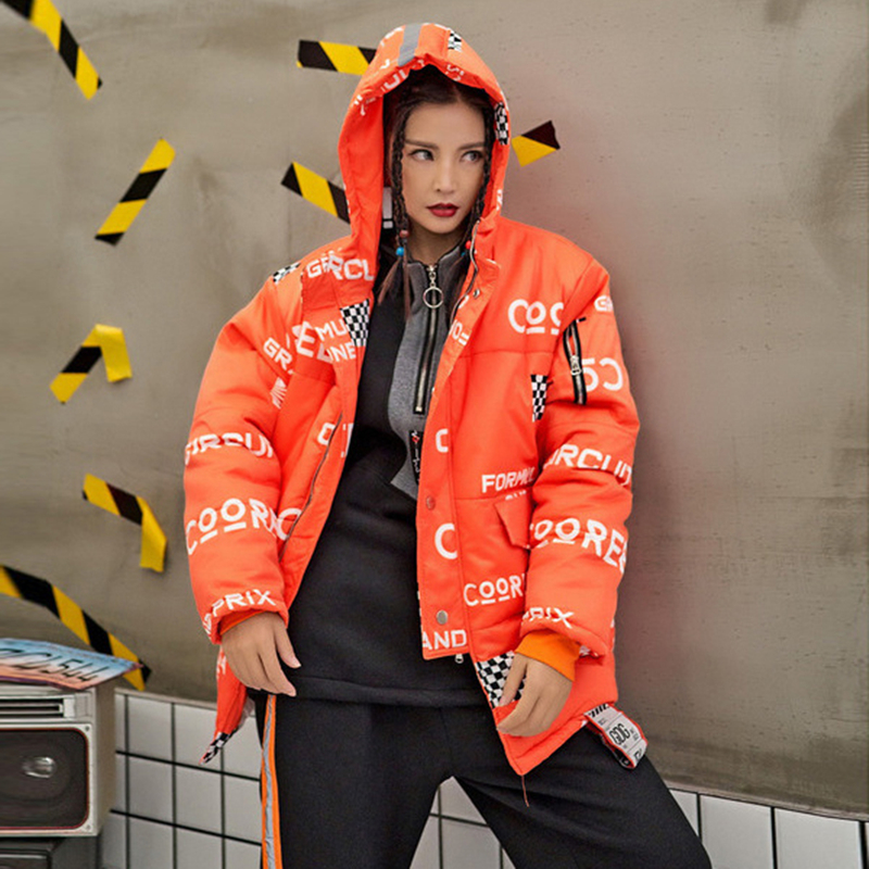 Ouatée Décontracté Femmes Longues Lettre Manteau De Manches Épais Capuchon En Z491 Imprimer Coton Femelle Parkas Veste À Mode Chaud Orange Hiver Ample XraqXv