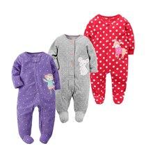 Купить с кэшбэком 2017 new baby girl clothes , soft fleece kids one pieces Jumpsuits Pajamas 0-24M infant girl boys clothes baby costumes bebes
