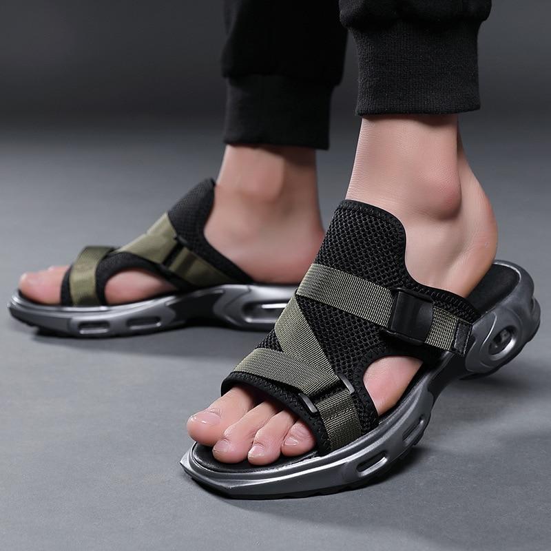Sandálias de Verão Almofada de ar Deslizamento em Sapatos Sandálias de Praia ao ar Homens Chinelos Confortável Casuais Livre Zapatillas Hombre Tamanho 38- 44