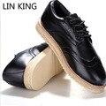 LIN REY Vintage Navy hombres Pisos Oxfords Zapatos de Vestir de Negocios de Cuero Ocasionales de la Plataforma Enredaderas de Italia Marca Para Hombre Mocasines