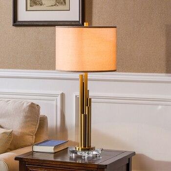 Lámpara de Metal dorado de columna redonda envolvente K9 lámpara de mesa...