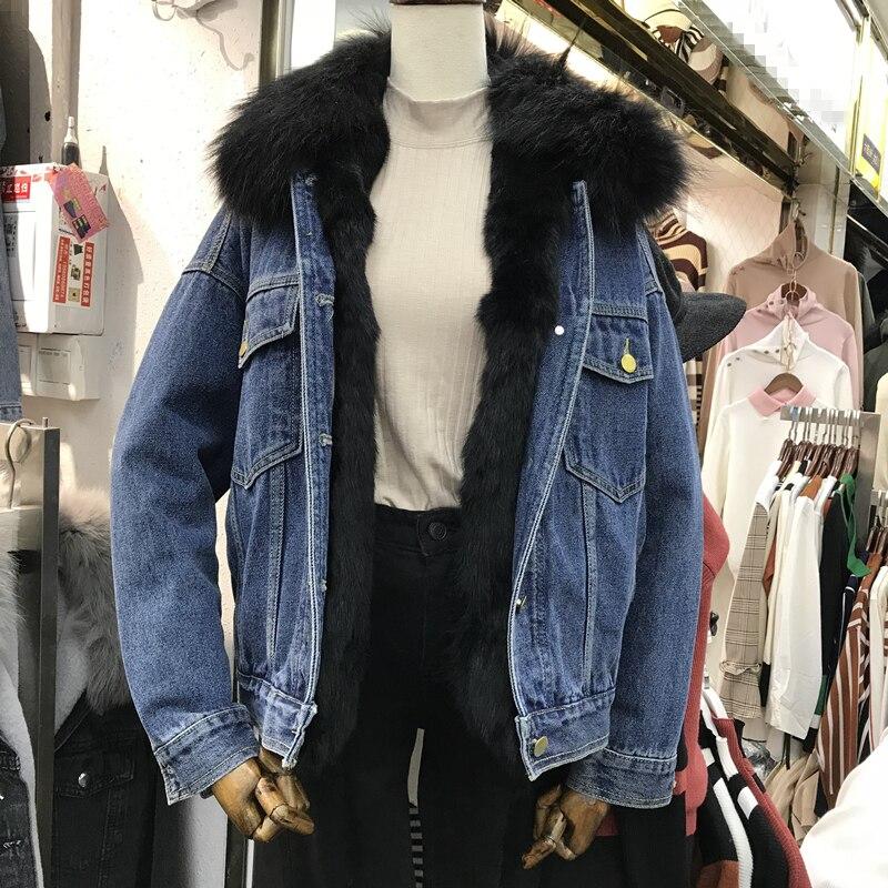 Femelle Coton Femmes Black Renard Hiver Automne gray Nouveau Rembourré Plus Velours Parkas Col De Veste Denim D Fourrure a0Efztwqx