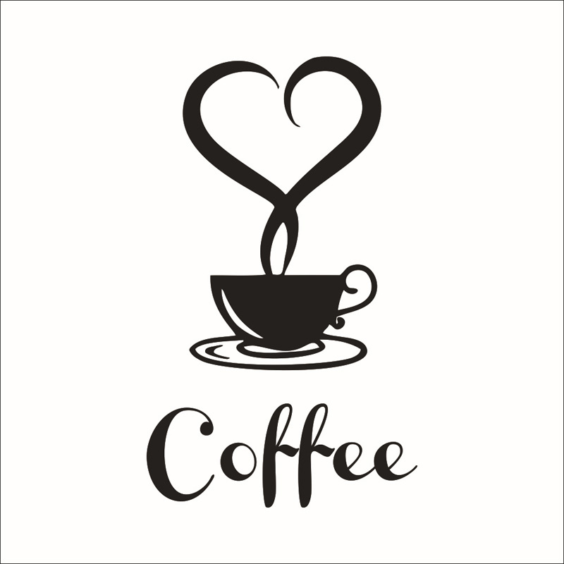 Coffee wall sticker shop Restaurant wall decor decals home decorations kitchen removable vinyl wall art diy decorative sticker 1