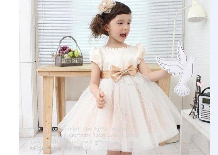 2016 Elegant Girls Beige White Princess Dress Kids