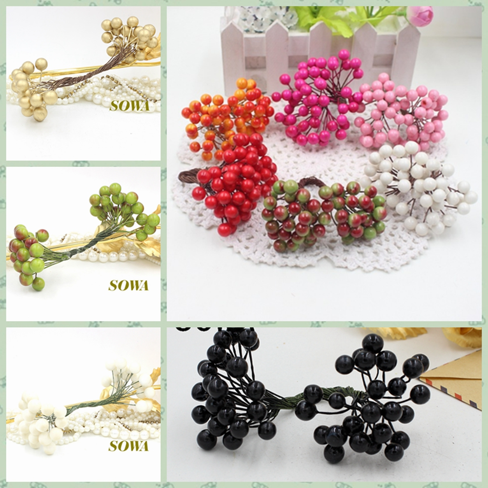 50 Heads 8mm Berry Bacca Artificial Flower For Wedding Decoration