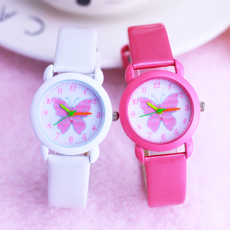 2019 Children Girls Small Cute Beauty Butterfly Leather Quartz Watches Kids Children's Day Gifts Students Colorful Case Watches