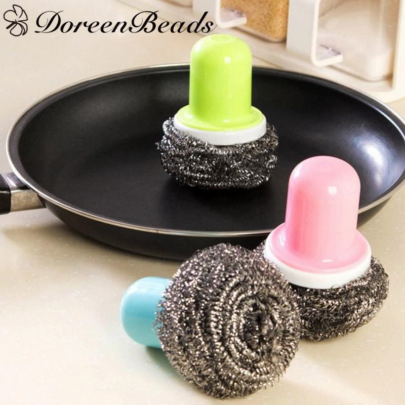 DoreenBeads Random Color Practical Cleaning Brushes Plastic Handle Kitchen Cups Dishes Household Cleaning Ball 10x8cm, 1 PC