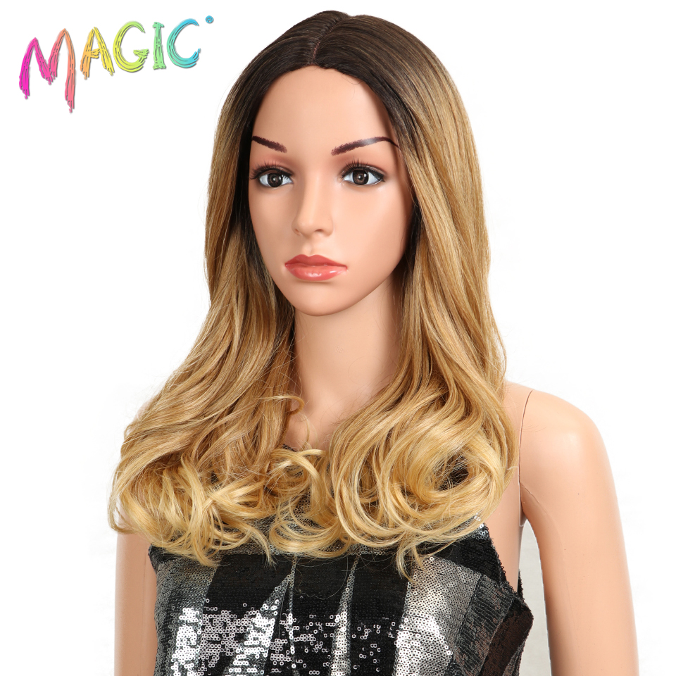 Mixed Gold Synthetic Lace Front Wig Loose Wavy Ombre Blue Wig for Women Dark Roots 2 Tones Hair Glueless High Temperature Fiber in Synthetic Lace Wigs from Hair Extensions Wigs