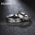 BALMORA Fashion Stainless Steel & CZ Couples Rings for Men Women Lovers Ring Valentine's Gift  Lover's Jewelry Wholesale