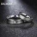Balmora casais anéis para mulheres dos homens da forma do aço inoxidável & cz anel amantes dos namorados presente do amante de jóias por atacado