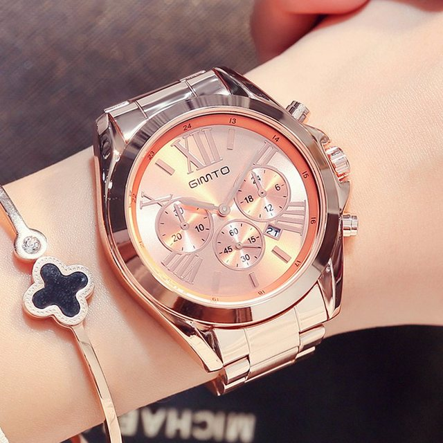 GIMTO Brand Luxury Rose Gold Women Watch Waterproof Calendar Unique Quartz Busin