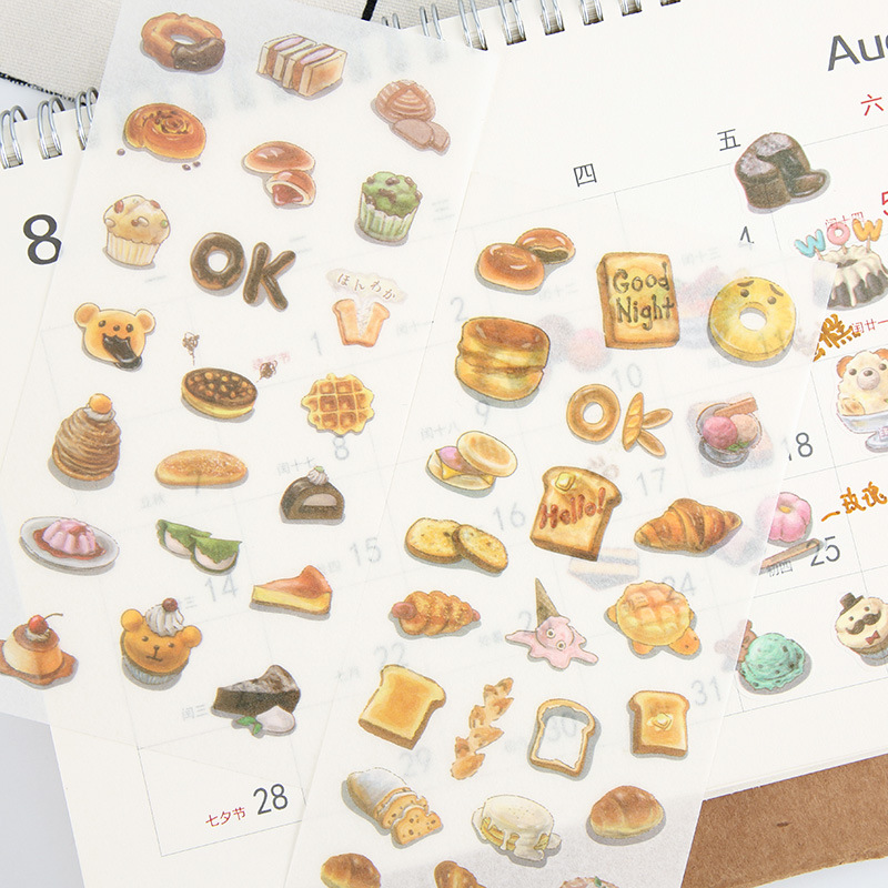 6 pcs/pack Dessert Bread Stickers Set Decorative Stationery Stickers Scrapbooking DIY Diary Album Stick Label spring and fall leaves shape pvc environmental stickers decorative diy scrapbooking keyboard personal diary stationery stickers