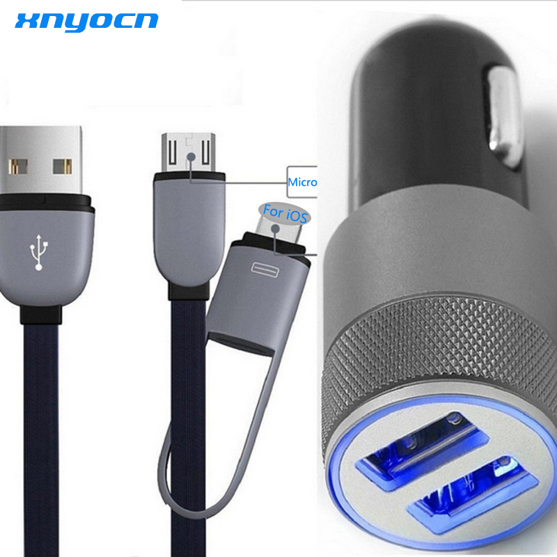 2 Port 3 1A Dual font b USB b font Cell Phone Car Chargers 2in1 3ft